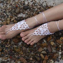 Seta Crochet Bianco Sandali A Piedi Nudi, gioielli piede, damigella d'onore accessorio, scalzo sandles, cavigliera, Matrimonio sulla spiaggia, scarpe estive(China (Mainland))