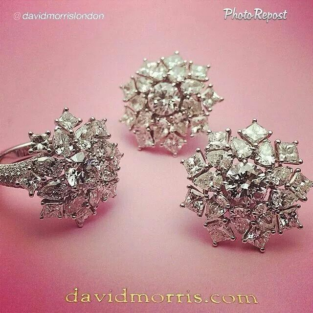 "By @davidmorrislondon ""Snow flakes In summer. Our new white diamond cluster earrings and cocktail ring. Now In the London store"" via @PhotoRepost_app"