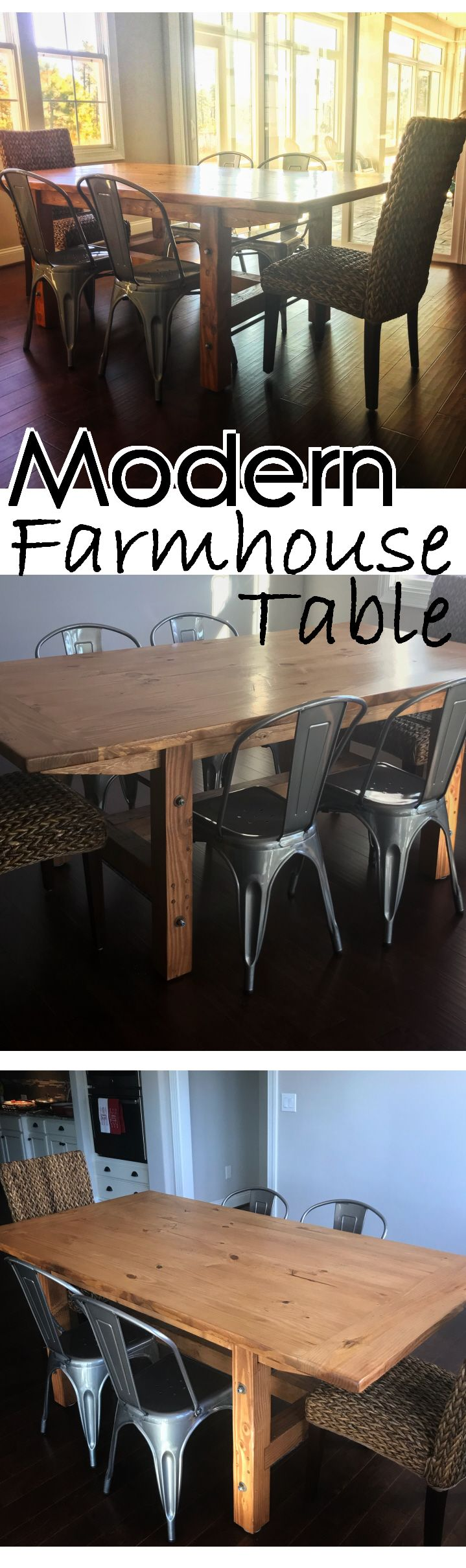 Farmhouse tables have become a decorating staple in today's homes.  That does not mean you have to own a cookie-cutter design.   This farmhouse table was designed to have modern accents to match the customer's metal chairs. Each leg features a metal support bar with exposed bolts and fasteners.
