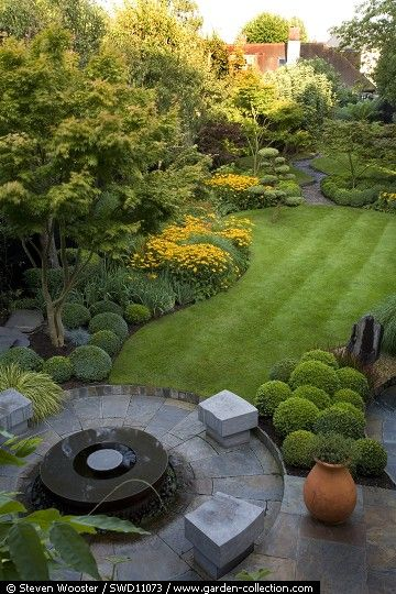 Petit jardin coquet de ville, small lawn, boxwood, topiary, groomed hedges, groomed bushes, outdoor seating, container gardening, beautiful backyard, semi contemporary garden