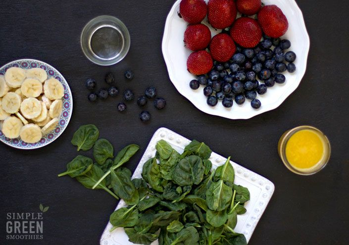 Still a favorite green smoothie around our home. Strawberry, Banana, Blueberry - Simple Green Smoothies