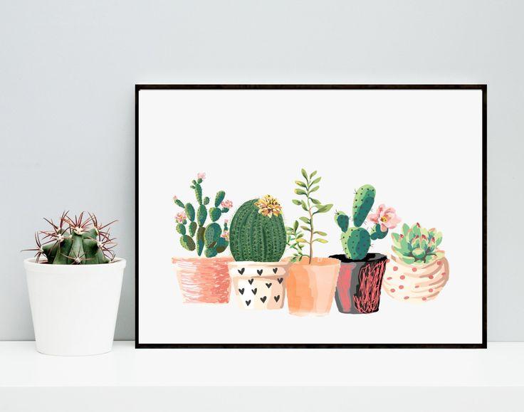 Cactus Print Printable Art Cactus Art Home Decor Potted Cactus Watercolor Succulents Wall decor Instant Download (7.20 AUD) by PaperStormPrints
