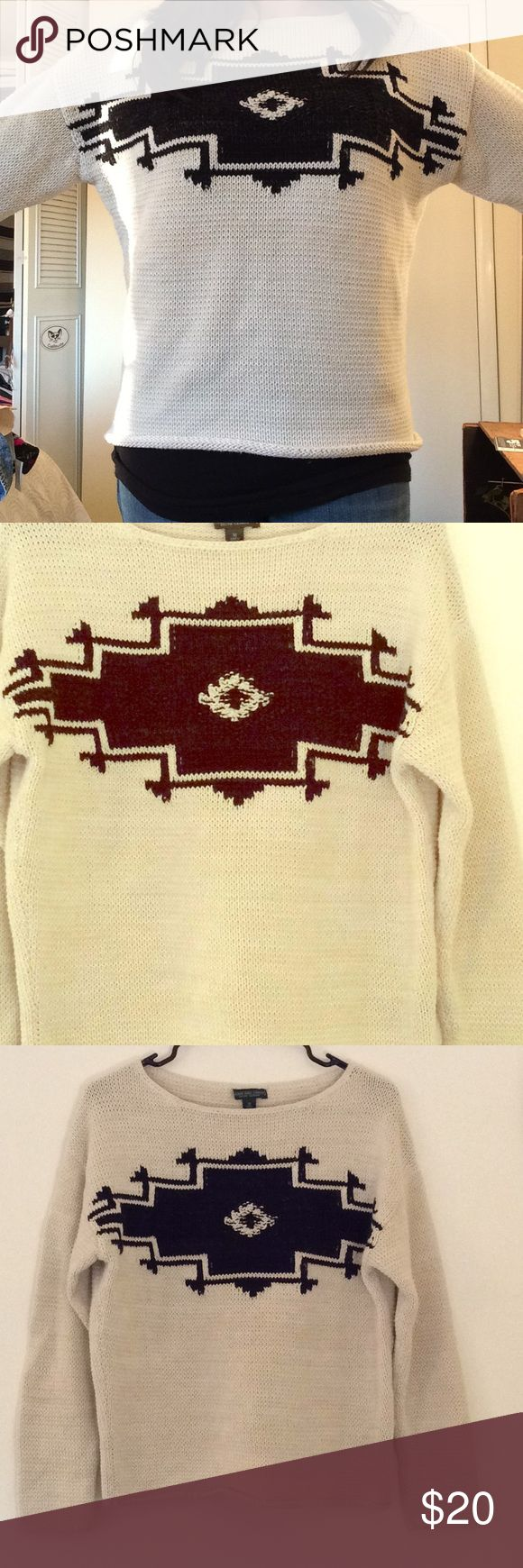 Ralph Lauren Tribal Sweater This is an off white and black tribal sweater from Ralph Lauren {Lauren Jeans Company}. Knit pattern. Size M.  Great condition- no pulling. Ralph Lauren Sweaters