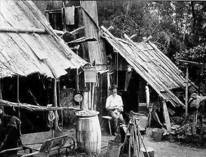 A bush hut of slabs and bark circa 1860