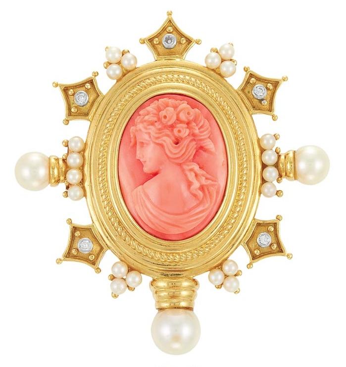 Золото, Coral камея, культивированный жемчуг и алмаз кулон Clip-брошь, 14 тыс. т золота
