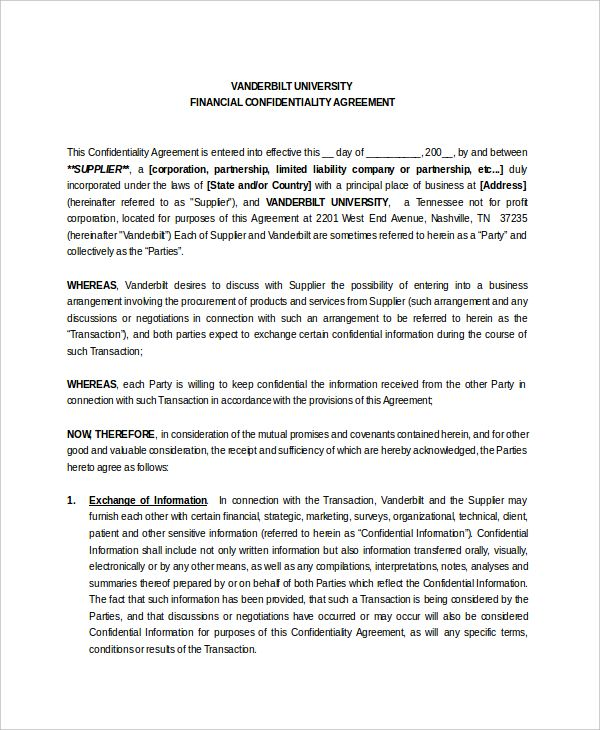 financial confidentiality agreement template 28 images News to Gow