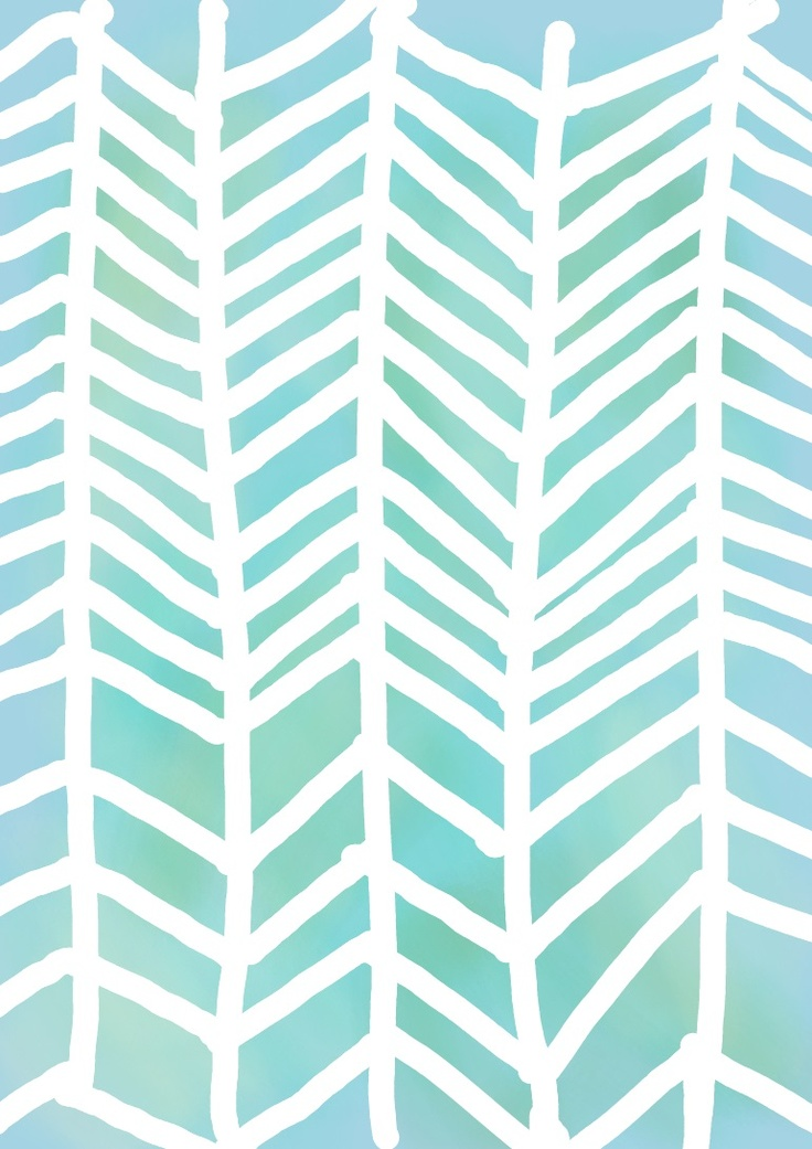 Watercolor blue and green with white chevron phone wallpaper I made.