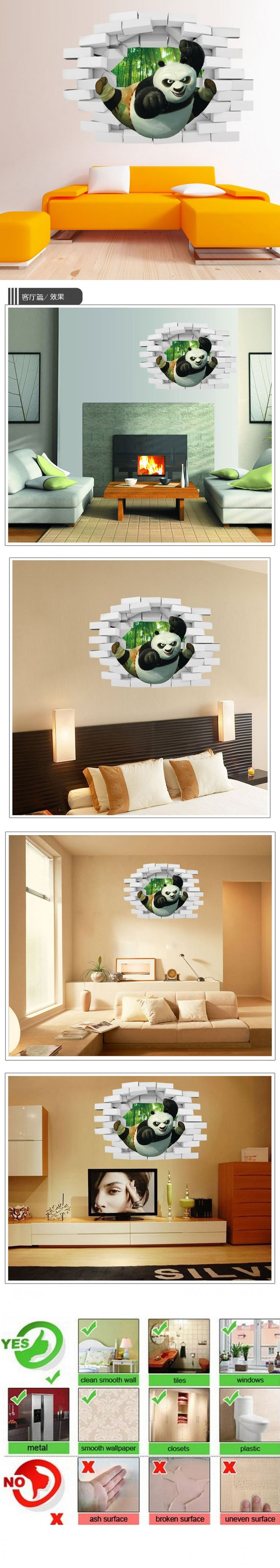 The 25 best panda 3d ideas on pinterest cute drawings of cute cartoon kungfu panda wall sticker pvc wall stickers home decor kids bedroom wallpaper poster mural amipublicfo Image collections
