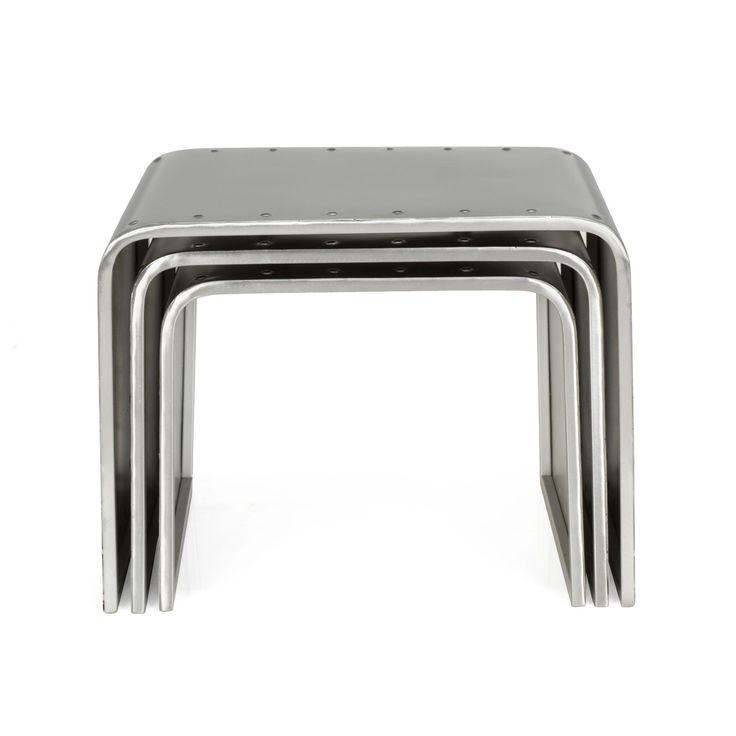 3 tables basses gigognes en acier style indus gris mekano les tables basses tables basses. Black Bedroom Furniture Sets. Home Design Ideas