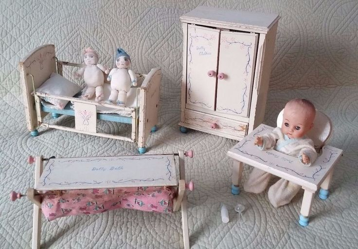 Vintage keystone wood baby dolly set doll and furniture Wooden baby doll furniture