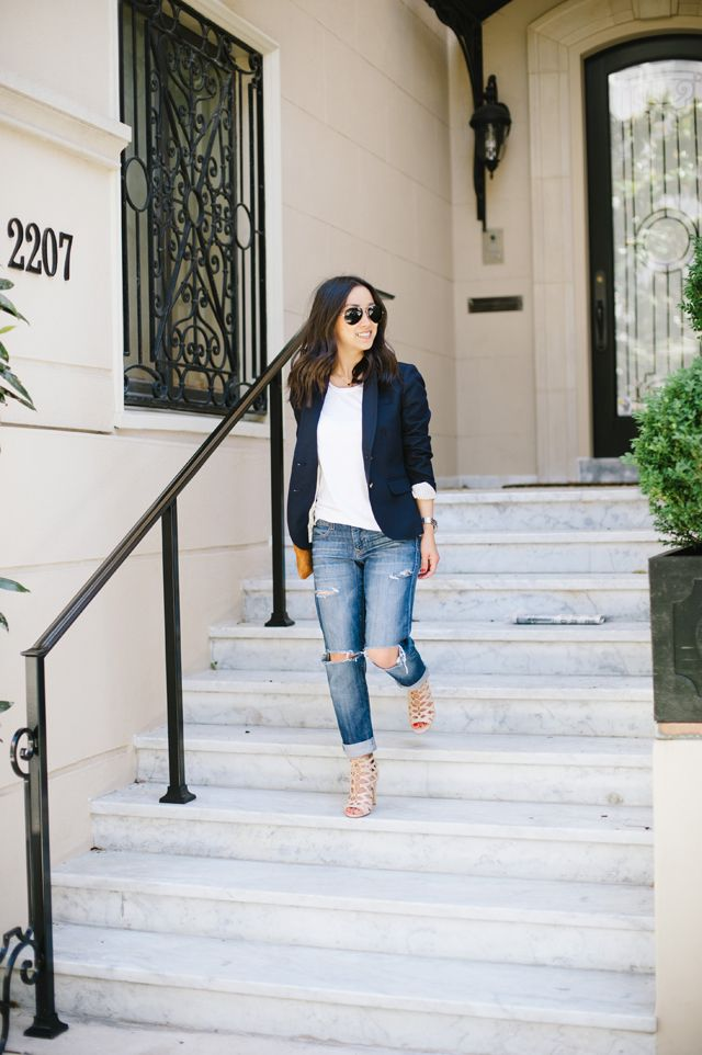 Blogger Crystalin Marie updates her classic Gap jeans and white tee with heeled sandals and a schoolboy blazer.