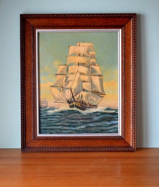 Vintage old oil painting Tall ships framed