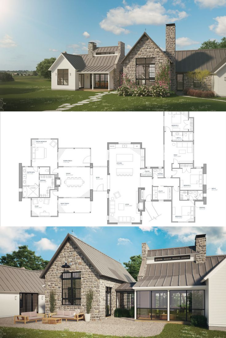 Ferrandaise Modern farmhouse floorplan, Modern farmhouse