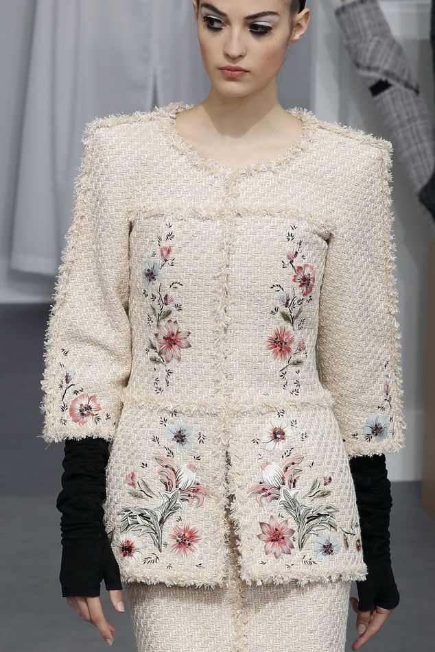 A model wears a creation for Chanel's Haute Couture Fall-Winter 2016-2017 fashion collection presented Tuesday, July 5, 2016 in Paris. (AP Photo/Francois Mori)