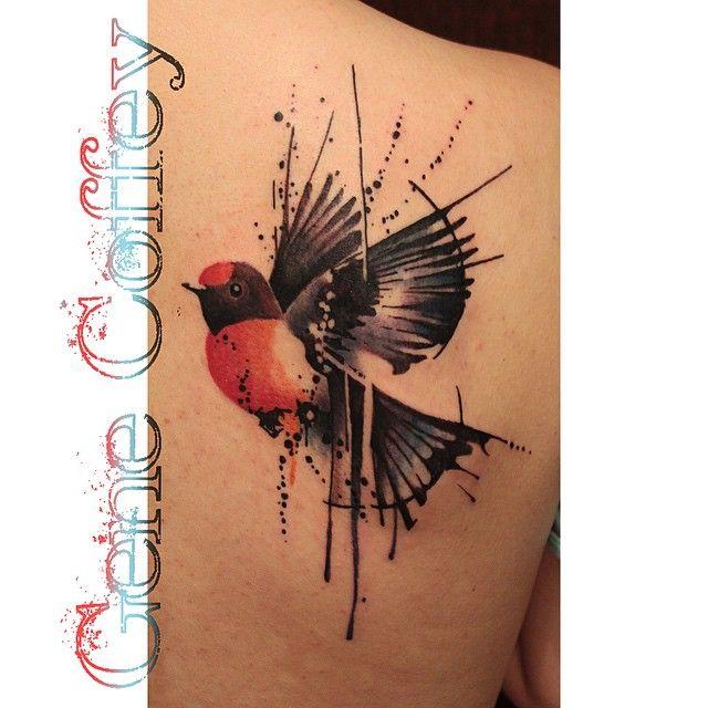 Red crowned robin on this girls back. #redrobin #robin #robintattoo #birdtattoo…