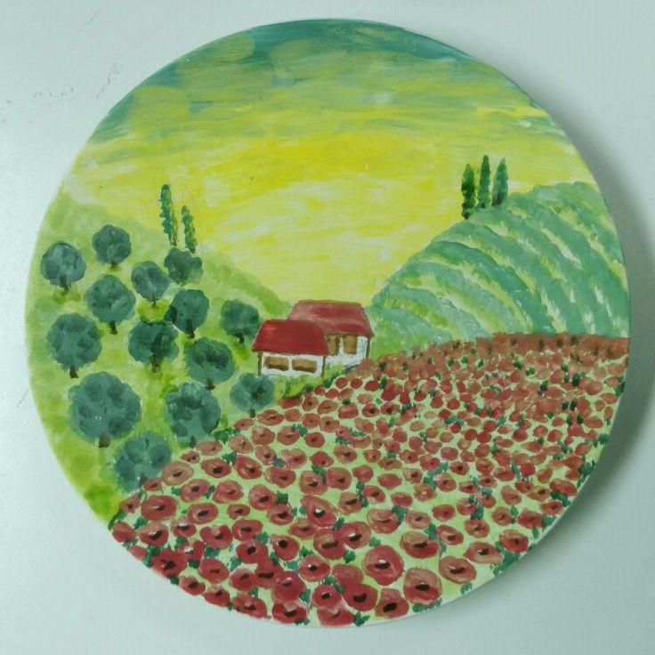 """Тарелка """"Тоска по Тоскане"""". Скучаю! Plate Missing Toscana. Toscata, I miss you!"""