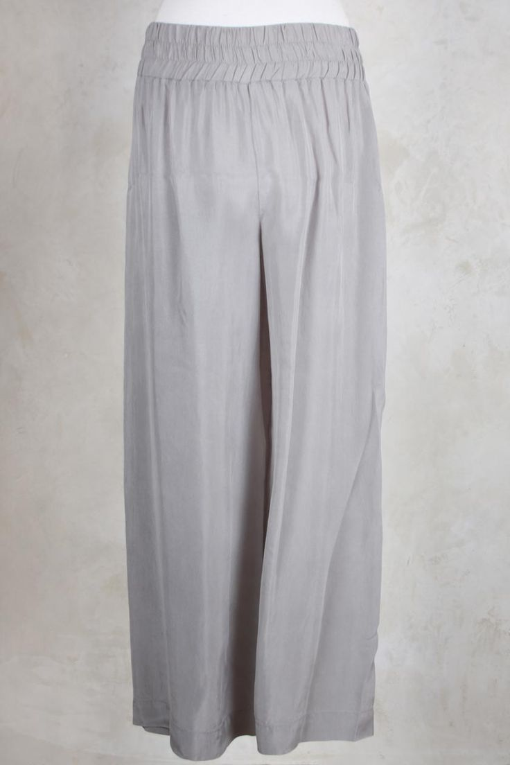 Cropped Wide Leg Trousers with Ruched Waist in Grey - Crea Concept