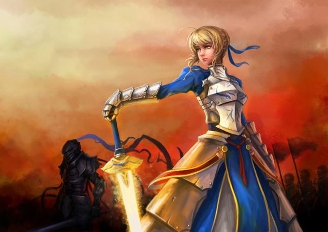 anime warrior girl with saber  wallpaperfox.com