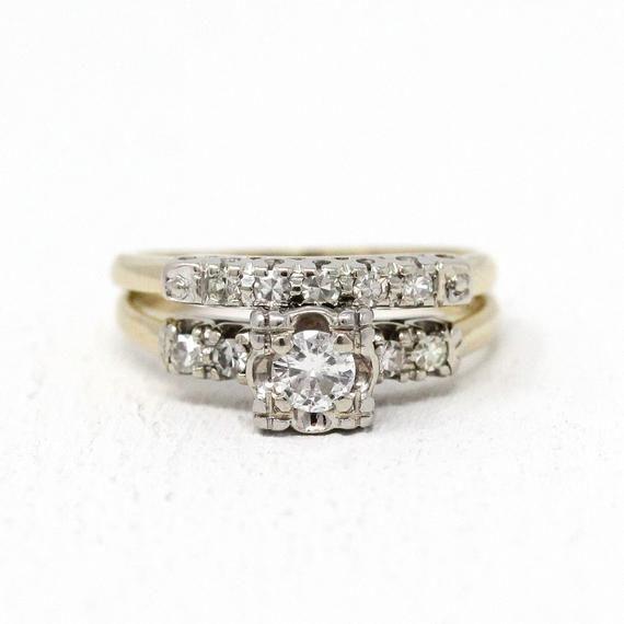 Sale Diamond Ring Set 14k Yellow Gold Palladium Matching Etsy Wedding Rings Vintage Vintage Engagement Wedding Rings Vintage Engagement Rings