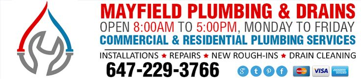 #BramptonPlumber Mayfield Plumbing & Drains for plumbing repairs, installations, drain cleaning to new rough-ins. http://mayfieldplumbing.ca
