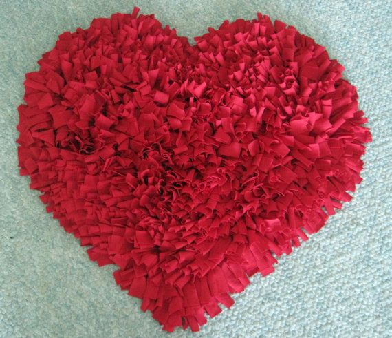Custom Red HEART Cotton Shag RUG