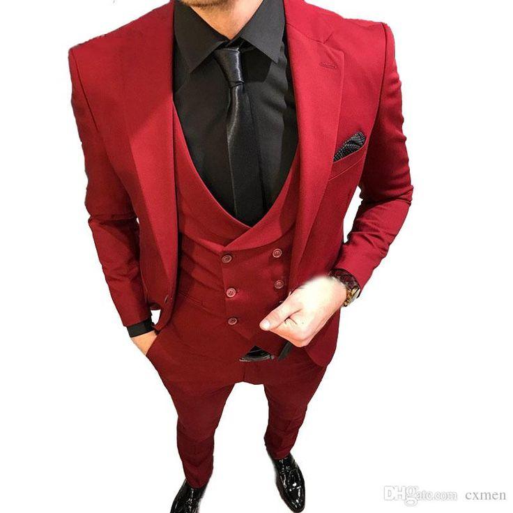 Burgundy men suits for wedding slim fit groom tuxedos