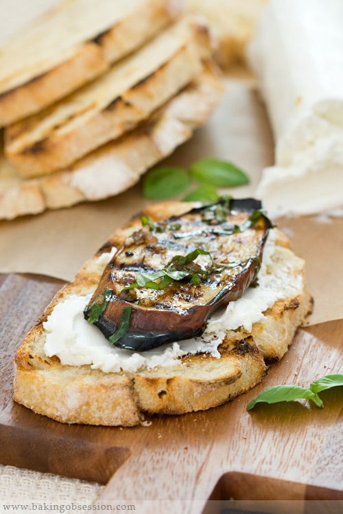 Grilled Egglpant with Goat Cheese, Fresh Basil and Fire-toasted bread.