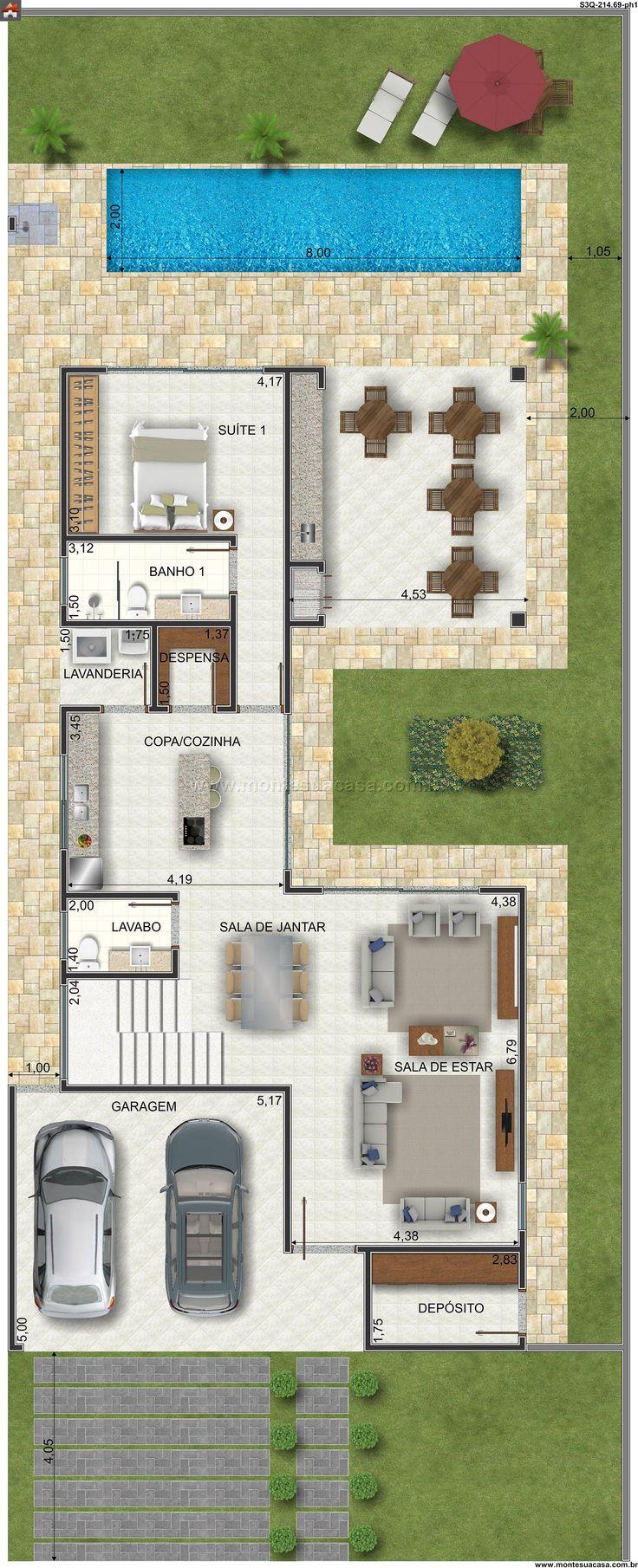 Sobrado 0 quartos projetos de casa projetos for Planos de casas pequenas de una planta