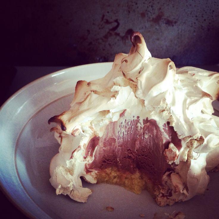Chocolate and hazelnut baked alaska with brown sugar meringue