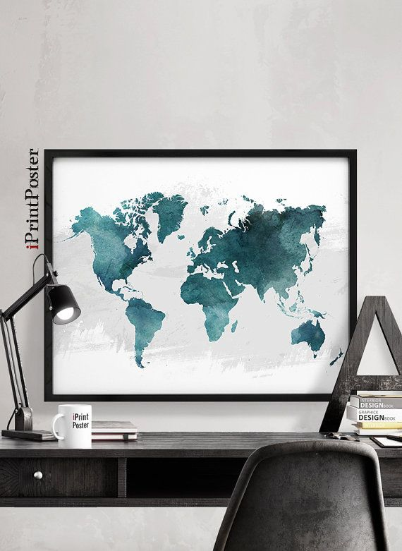 109 best world map posters images on pinterest decoracin de world map print world map poster world map watercolour art large world map gift home decor travel poster wall art iprintposter gumiabroncs Image collections