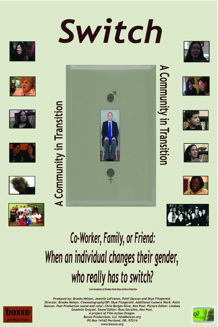 """Switch: A Community in Transition is a documentary about a progressive, multicultural community and the response of the community to a member's changing gender expression. The basic premise of this film is that it is not the individual that transitions, but the community. Not the binary """"off"""" and """"on"""" of a light switch, or the dualistic nature of the concepts of male and female, but switch as in the subtle substitution of one for another."""