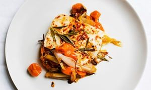 Nigel Slater's baked halloumi with tomatoes recipe | Life and style | The Guardian