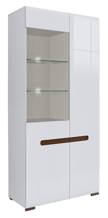 Moderne vitrinekast Azerty voorzien van LED verlichting uitgevoerd in de kleur Hoogglans wit
