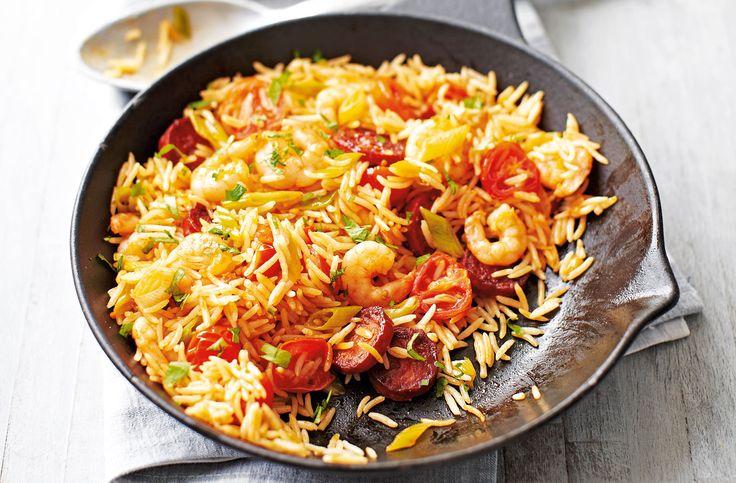 Chorizo & prawn fried rice modify with diced red pebber, peas, garlic and smoked paprika.