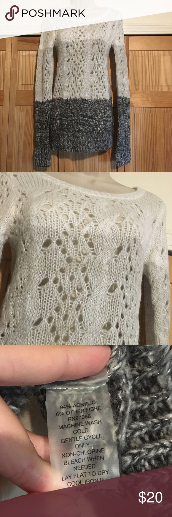Ombré Crochet Detail Sweater Fitted long sleeve tunic sweater with crochet details and ombre coloring effect.  Beautiful coloring with metallic silver woven throughout.  Gently worn, no damage.  20% off all bundles!! Delia's Tops