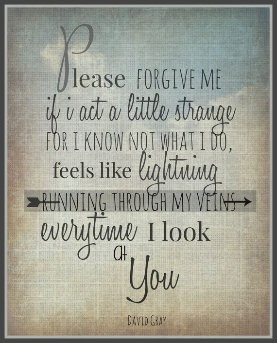 "David Gray ""Please Forgive me"" 8x10 Lyric art print, Typography Print, Wall Decor, Quote Print, Song lyric poster"