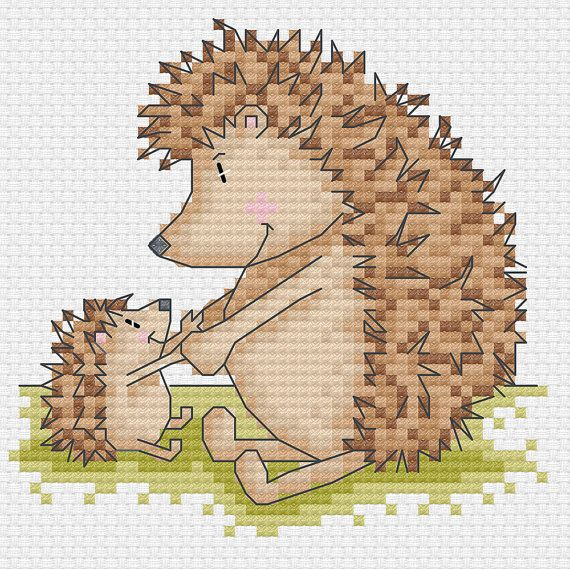 mr. hedgehog 4 cross stitch patterns by DureneJones on Etsy