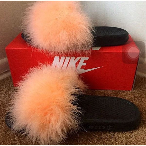 Nike Fur Slides (many colors available) ($40) ❤ liked on Polyvore featuring shoes, sandals, nike shoes, nike sandals, nike, nike footwear and fur shoes