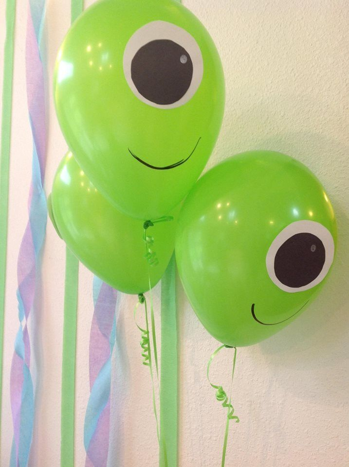 Monsters inc Mike Wazowski balloons. Construction paper and sharpie.