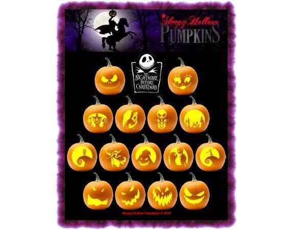 Nightmare Before Christmas Pumpkin Carving Patterns - Printable PDF