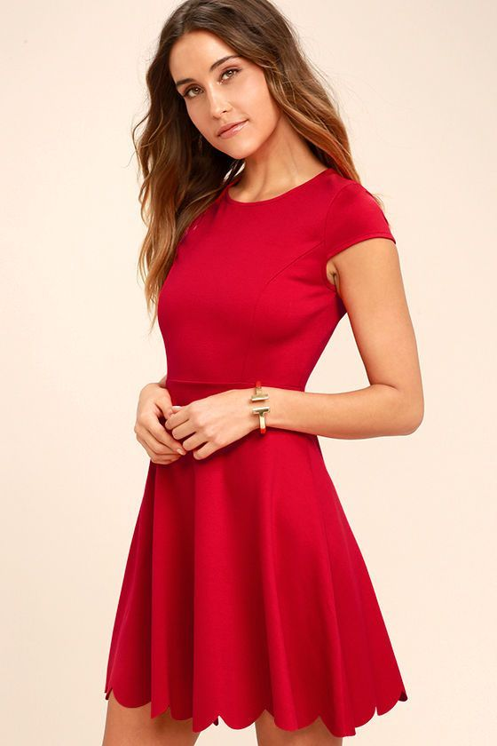 Lulus Exclusive! You won't need a picture to prove how cute you look in the Proof of Perfection Red Skater Dress, but you'll want one anyways! Medium-weight, stretch knit shapes a rounded neckline, and princess-seamed bodice, framed by cute cap sleeves. A twirl-worthy skirt ends in a scalloped hem. Hidden back zipper.