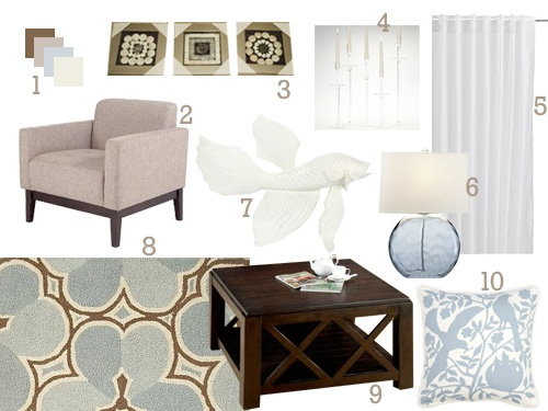 brown blue living room mood board