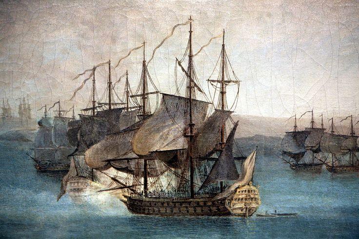 Le Départ de la flotte française pour l'expédition de Port-Mahon dans l'île de Minorque le 10 avril 1756-Nicolas Ozanne mg 8244b - Rolland-Michel Barrin — Wikipédia