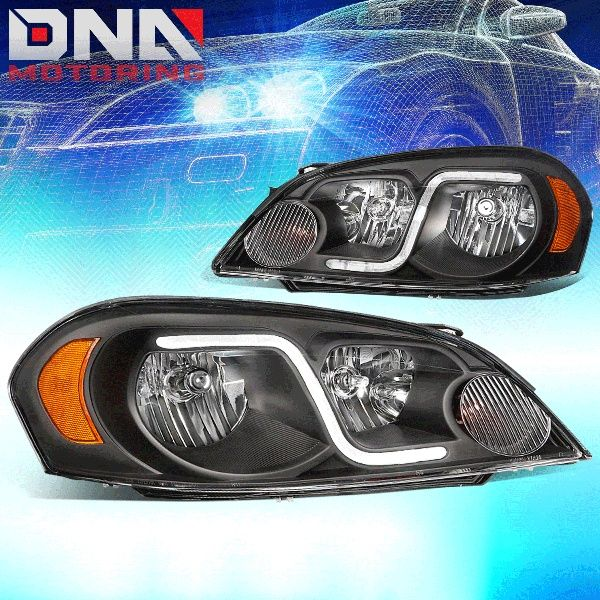 For 2006 To 2016 Chevy Monte Carlo Impala Limited Led Drl Light Bar Headlight Black Housing Amber Corner Headlamp 07 08 09 10 11 12 13 14 15 Impala Chevy Monte Carlo Chevy