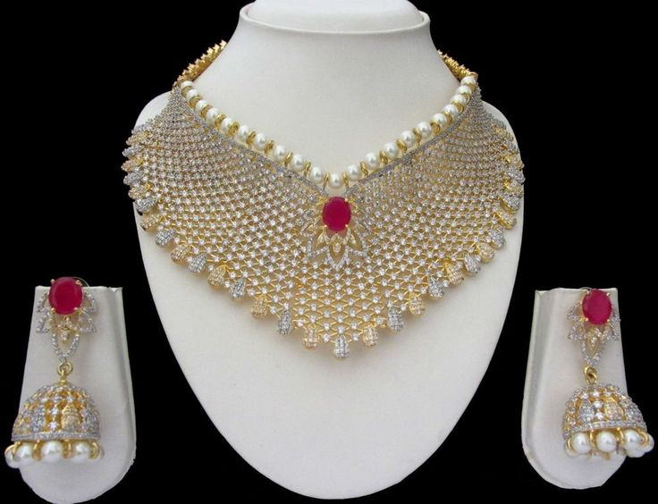 Indian Bridal CZ AD Gold & Silver Bollywood Bridal Necklace Set Swam Jewelry 159