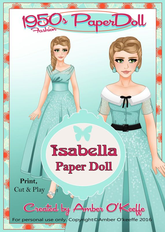 1950s Isabella Paper Doll Collection 7 by OkeeArts on Etsy