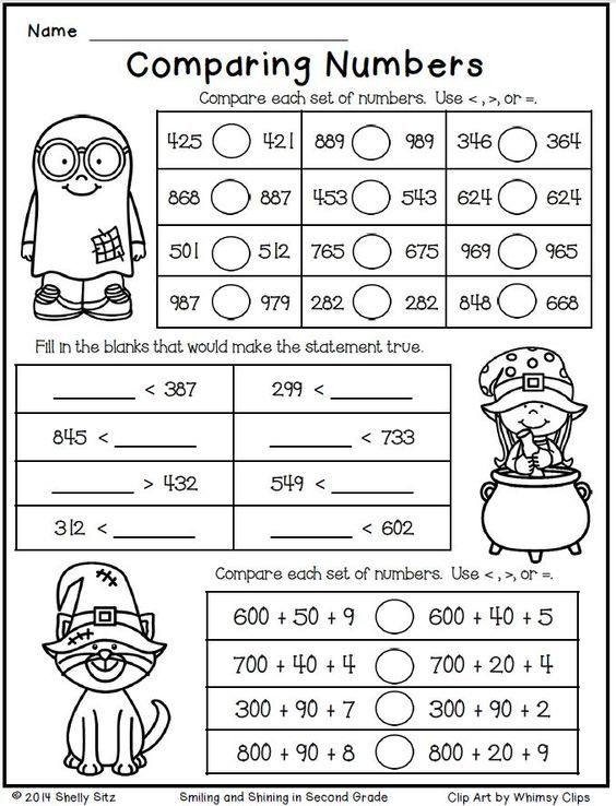 Halloween Math for Second Grade--Comparing Numbers-Free:
