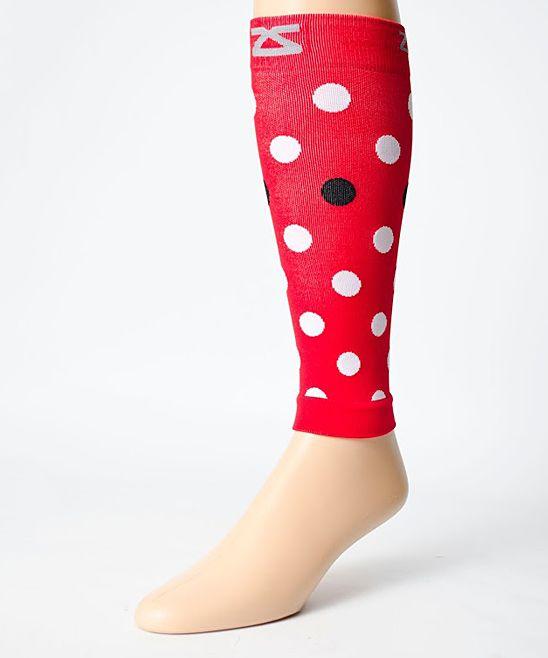 Red Polka Dot Leg Compression Sleeves - Women