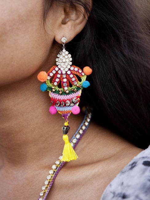 Mixed media and crochet earring.
