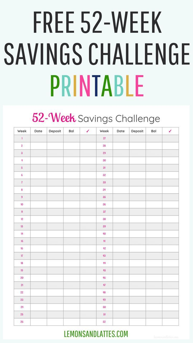 Do You Have A Goal To Save Money The 52 Week Saving Challenge Can Help Get There Download Your Free Savings Printable Savingmoney